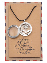 Eurika Locket Necklace with Mother Daughter Birds and Tree Charms and Greeting Card - Quan Jewelry