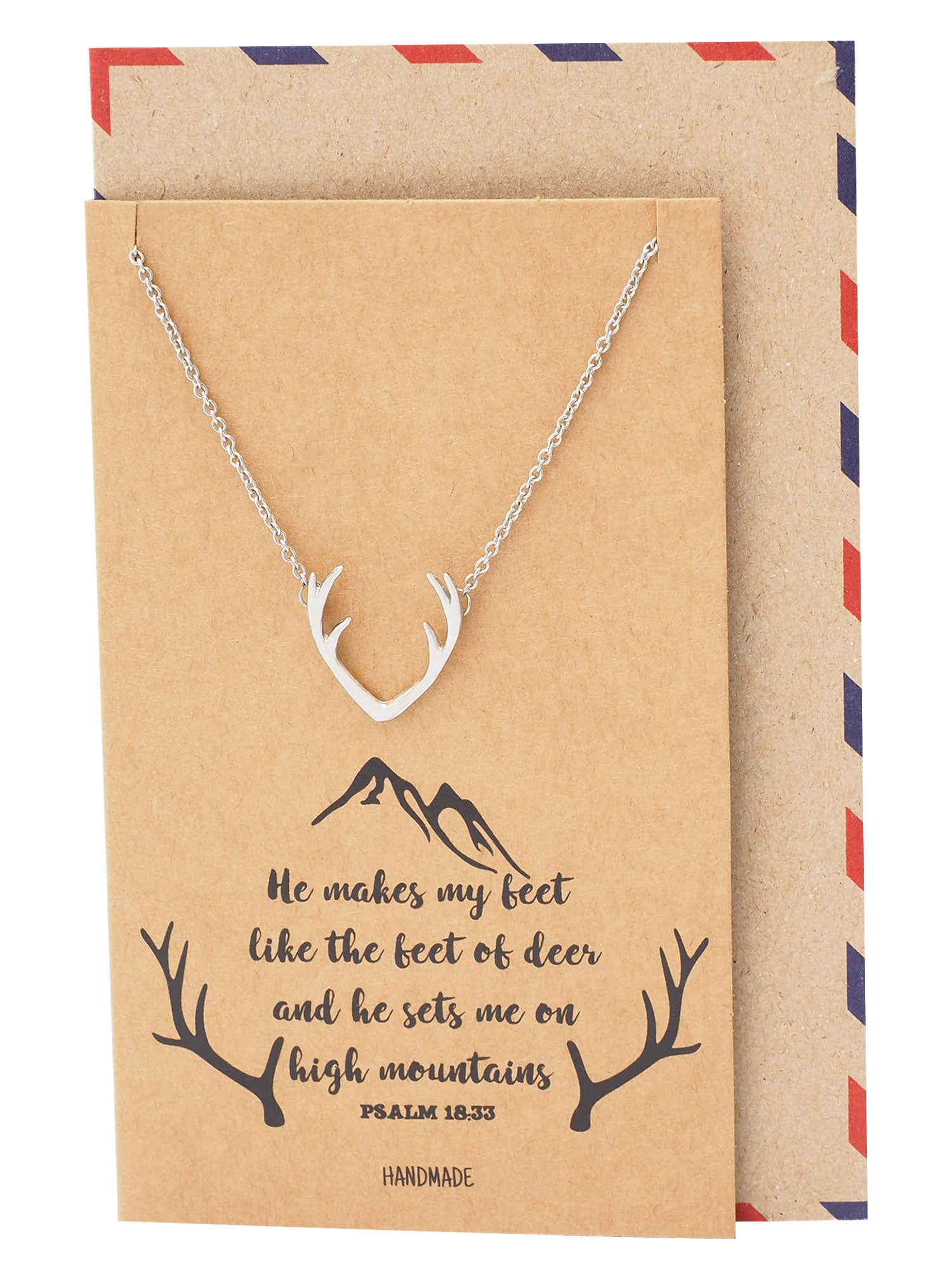 Allysa Deer Antler Pendant Gemini Necklace - Quan Jewelry