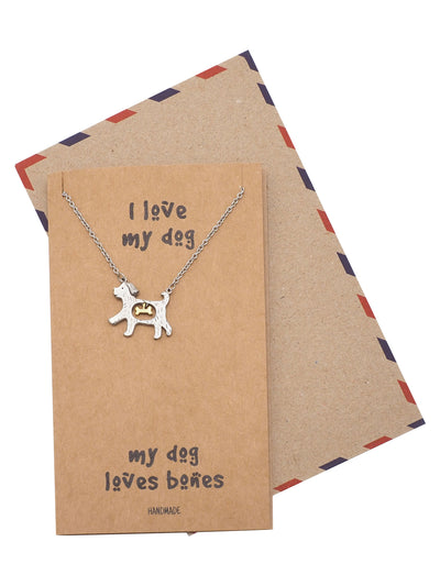 Maria Dog Loves Bones Pendant Necklace for Women with Greeting Card, Silver Tone