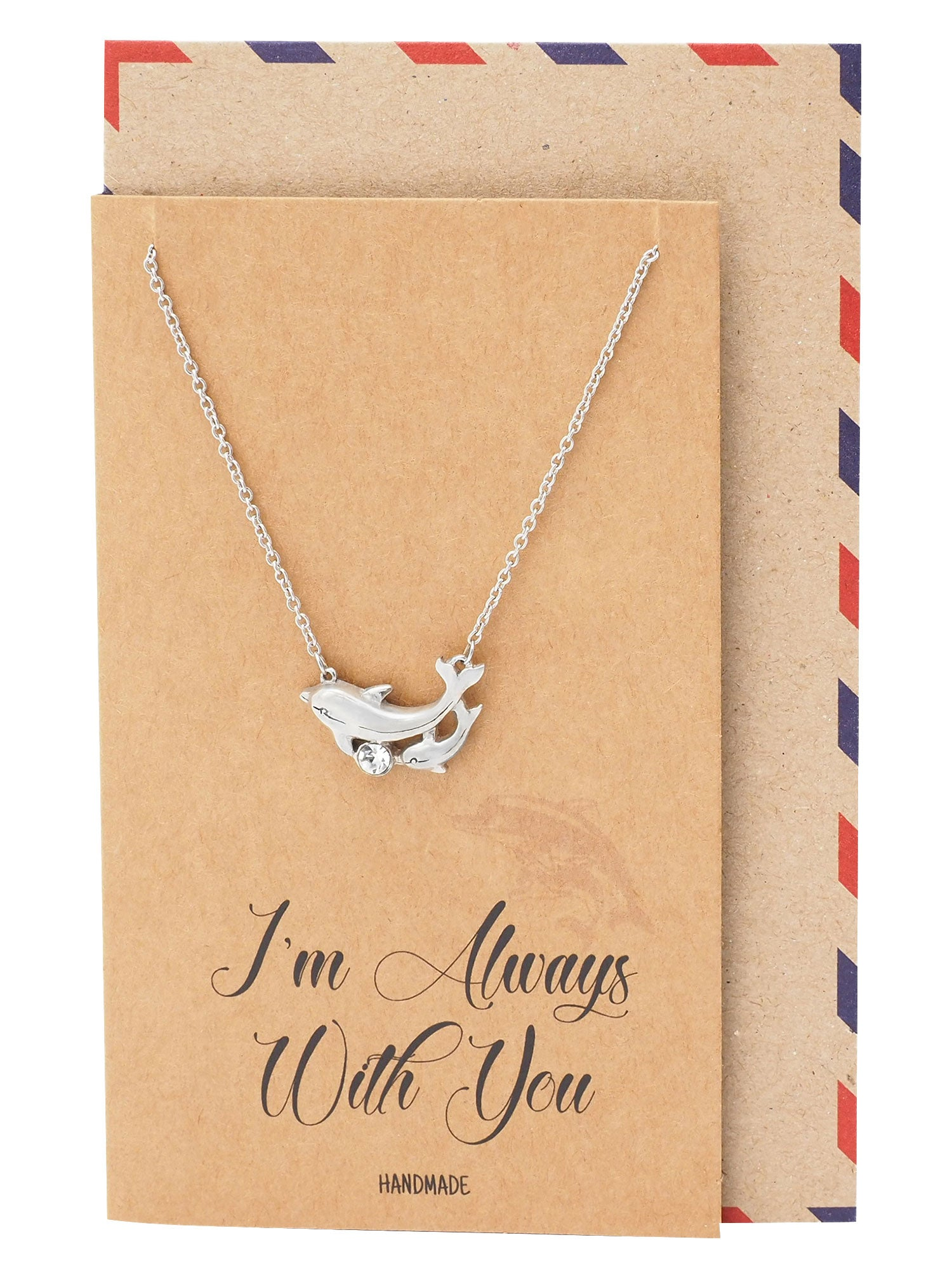 Dazzle Mother Daughter Necklace Dolphin Pendant I'm Always With You Jewelry Greeting Card - Quan Jewelry