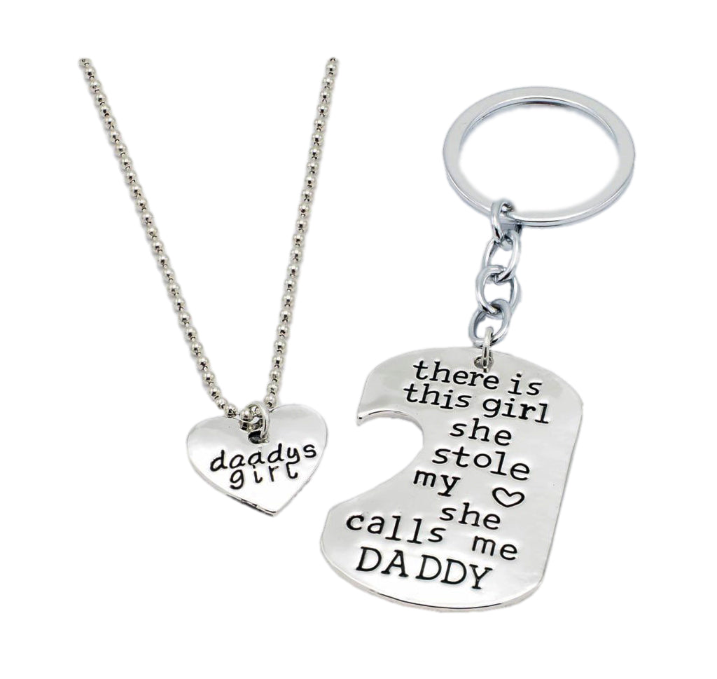 Dominic Father Daughter Personalized Keychain & Heart Necklace - Quan Jewelry