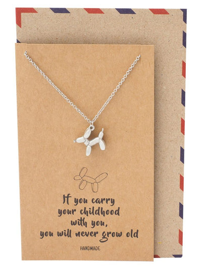 Reagan Dog Balloon Pendant Necklace with Inspirational Greeting Card