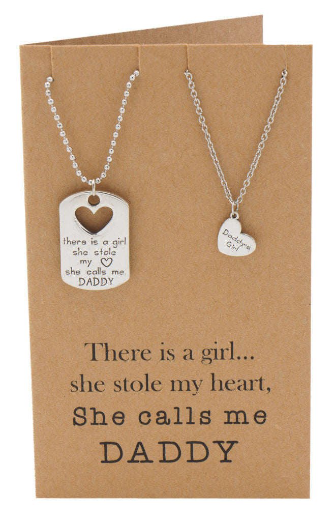 Mason Father Daughter Personalized Engraved Necklaces, Father's Day Card,  - Quan Jewelry - 5