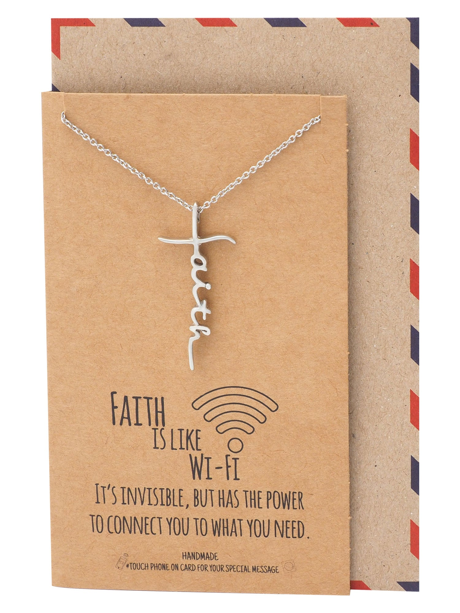 Judy Faith Pendant Necklace, Gifts for Women with Inspirational Quote on Greeting Card