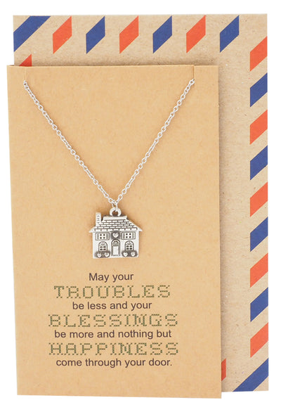 Lorelai Happiness and Blessings Family Necklace with House Pendant for Women, Inspirational Card - Quan Jewelry