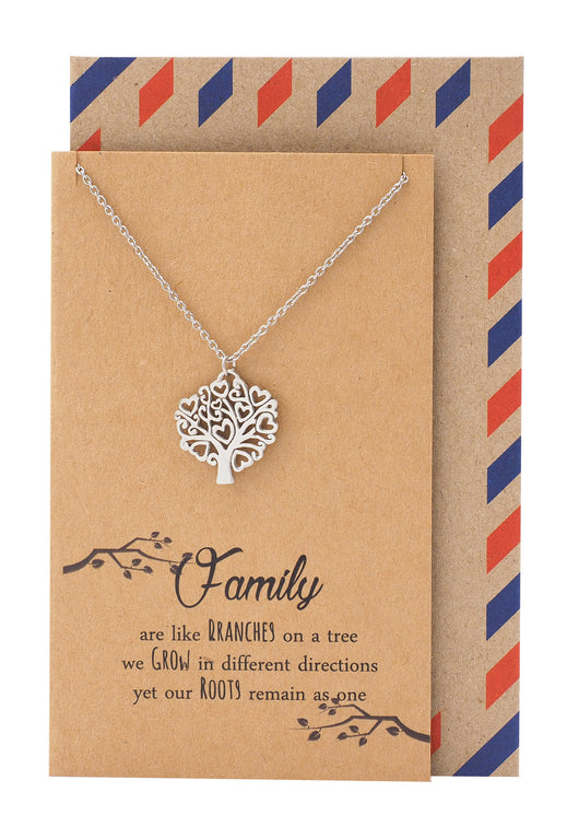 Zena Mothers Day Gifts Family Tree Necklace and Quotes Greeting Card