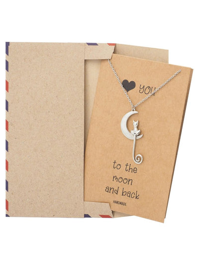 Jazlyn Cat and Moon Pendant Necklace, Gifts for Cat Lovers with Greeting Card