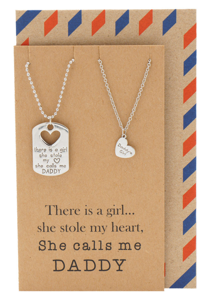 Mason Father Daughter Personalized Engraved Necklaces, Father's Day Card, Silver / Brown - Quan Jewelry - 1