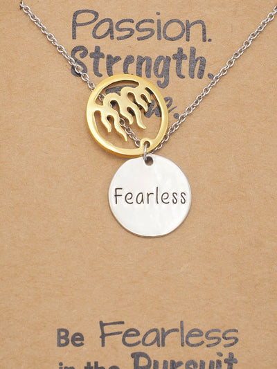 Atara Fire Pendant with Fearless on Plate Charm Necklace