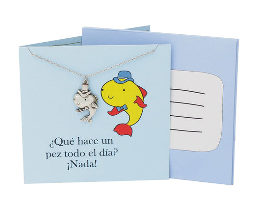 Fish Pendant Adjustable Necklace Puntastic Spanish Greeting Card