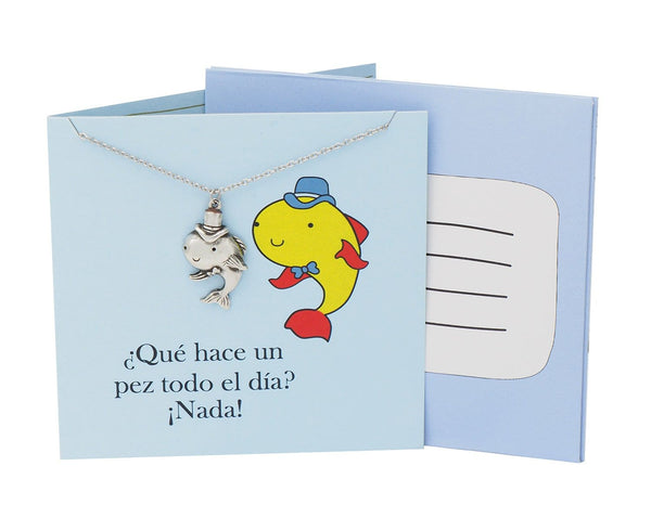 Fish Pendant Adjustable Necklace Puntastic Spanish Greeting Card - Quan Jewelry