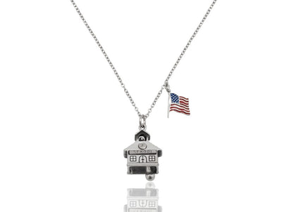 School Pendant with US Flag Charm Teacher Gifts