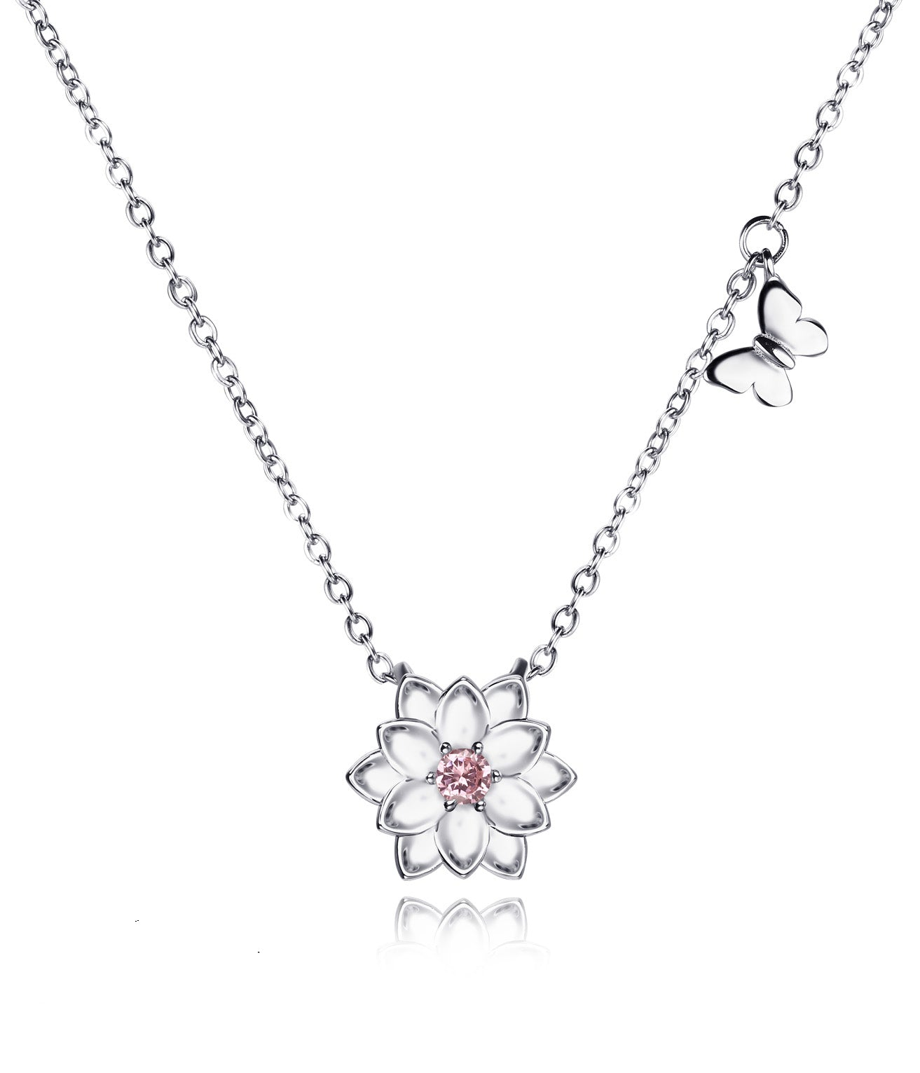 Ariella Lotus Flower Butterfly Necklace, Yoga Jewelry Gifts, 925 Sterling Silver - Quan Jewelry