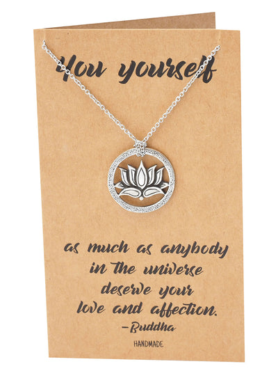 Gabrielle Om Lotus Pendant Necklace, Gifts for Yoga Lover - Quan Jewelry
