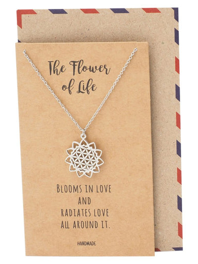 Serenity Flower of Life Pendant Necklace Inspirational Jewelry and Greeting Card