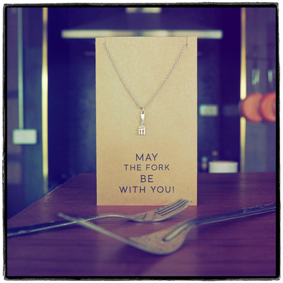 Mariele Fork Charm Necklace, Get Well Card, Gift for Chefs,  - Quan Jewelry - 5