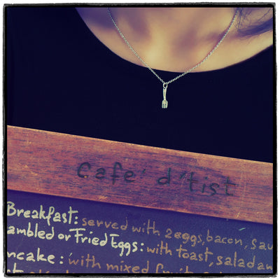 Mariele Fork Charm Necklace, Get Well Card, Gift for Chefs,  - Quan Jewelry - 4