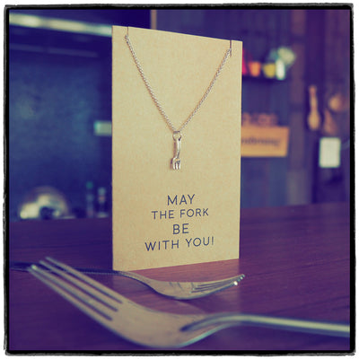 Mariele Fork Charm Necklace, Get Well Card, Gift for Chefs,  - Quan Jewelry - 6