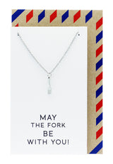 Mariele Fork Charm Necklace, Get Well Card, Gift for Chefs, Silver / White - Quan Jewelry - 8