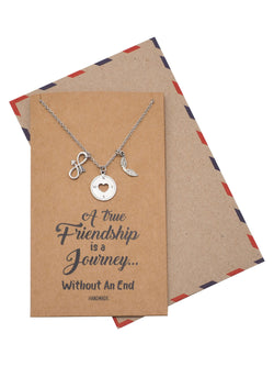 Lena Friendship Necklace With Infinity Arrow, Compass And Wings Pendant, Inspirational Greeting Card