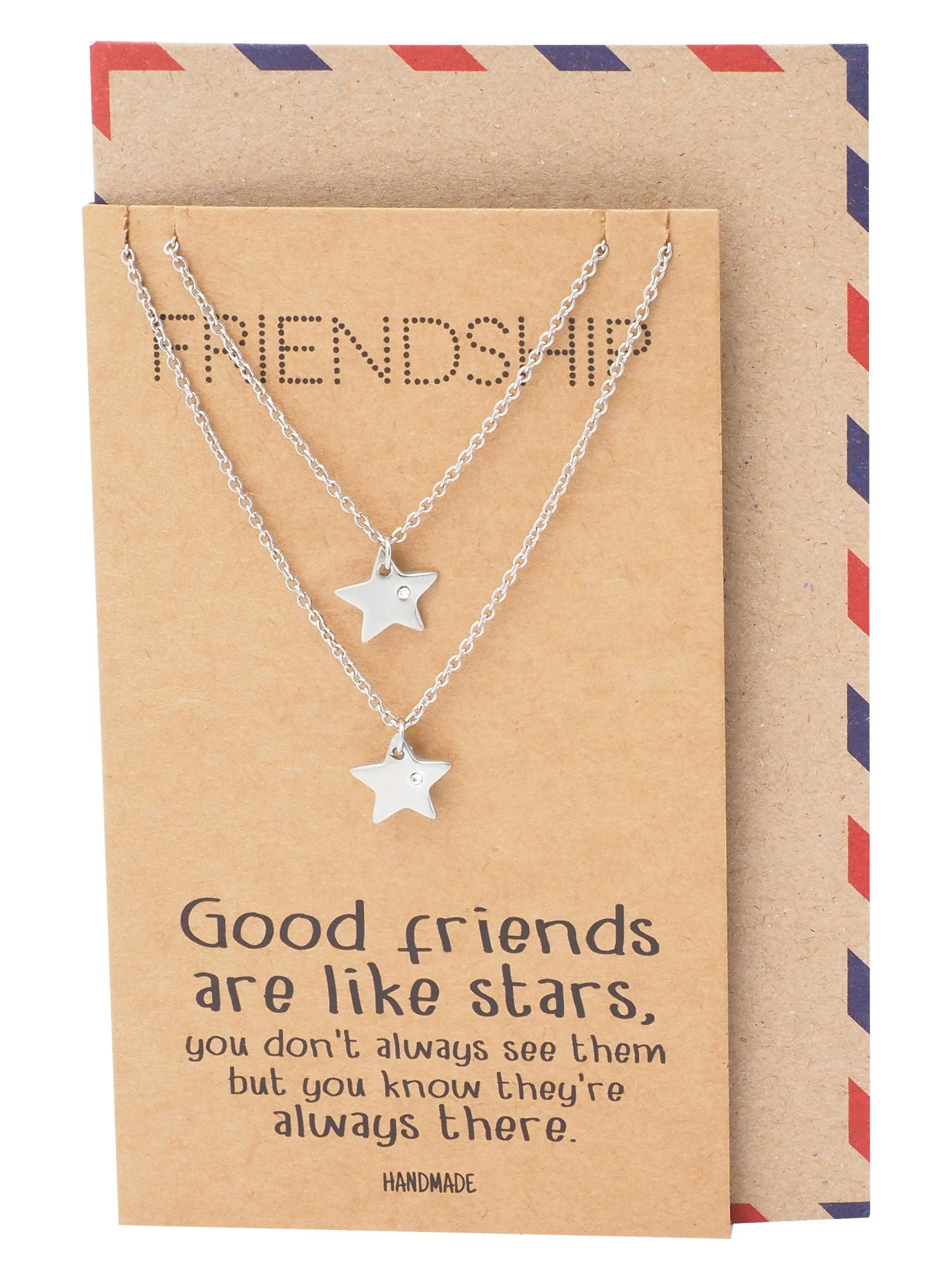 Macy Best Friend Necklaces with Matching Star Pendant, Friendship Necklace for 2