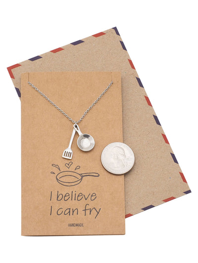 Addison Kitchen Charm, Pan Pendant Necklace, Gifts for Mom, Dad, Chef With Greeting Card