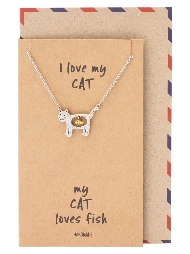 Nevaeh Cat Loves Fish Pendant Necklace