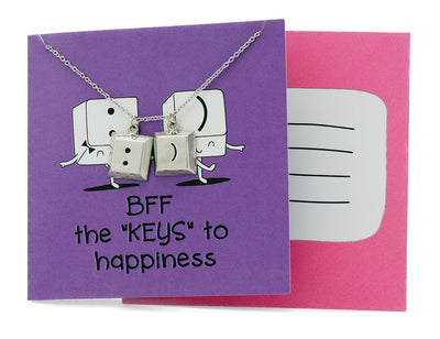 "Xy Best Friend Necklaces Funny Puns Gifts for Best Friends, BFF the ""Keys"" to Happiness"