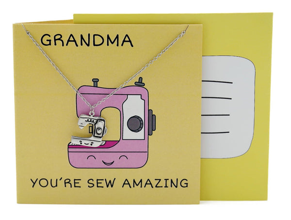 Ami Grandma Necklace Funny Puns Gifts for Grandma, You're Sew Amazing - Quan Jewelry