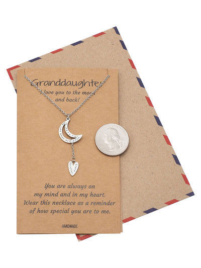 Eloise Granddaughter Necklace with Moon Pendant and Heart Charm