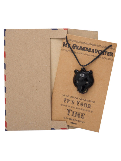 Jhermaine Black Panther Inspired Necklace, Gifts for Granddaughter with Greeting Card