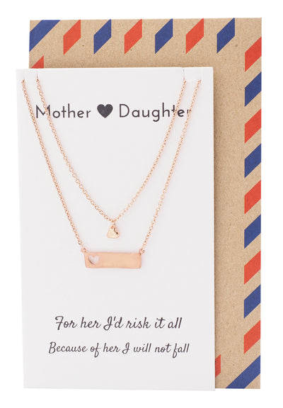 Riva Heart Bar Mother Daughter Necklace Set