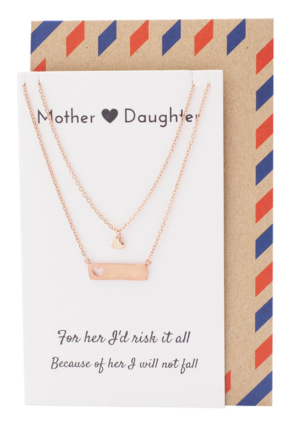 Riva Heart Bar Mother Daughter Necklace Set, Gifts for Mom Jewelry