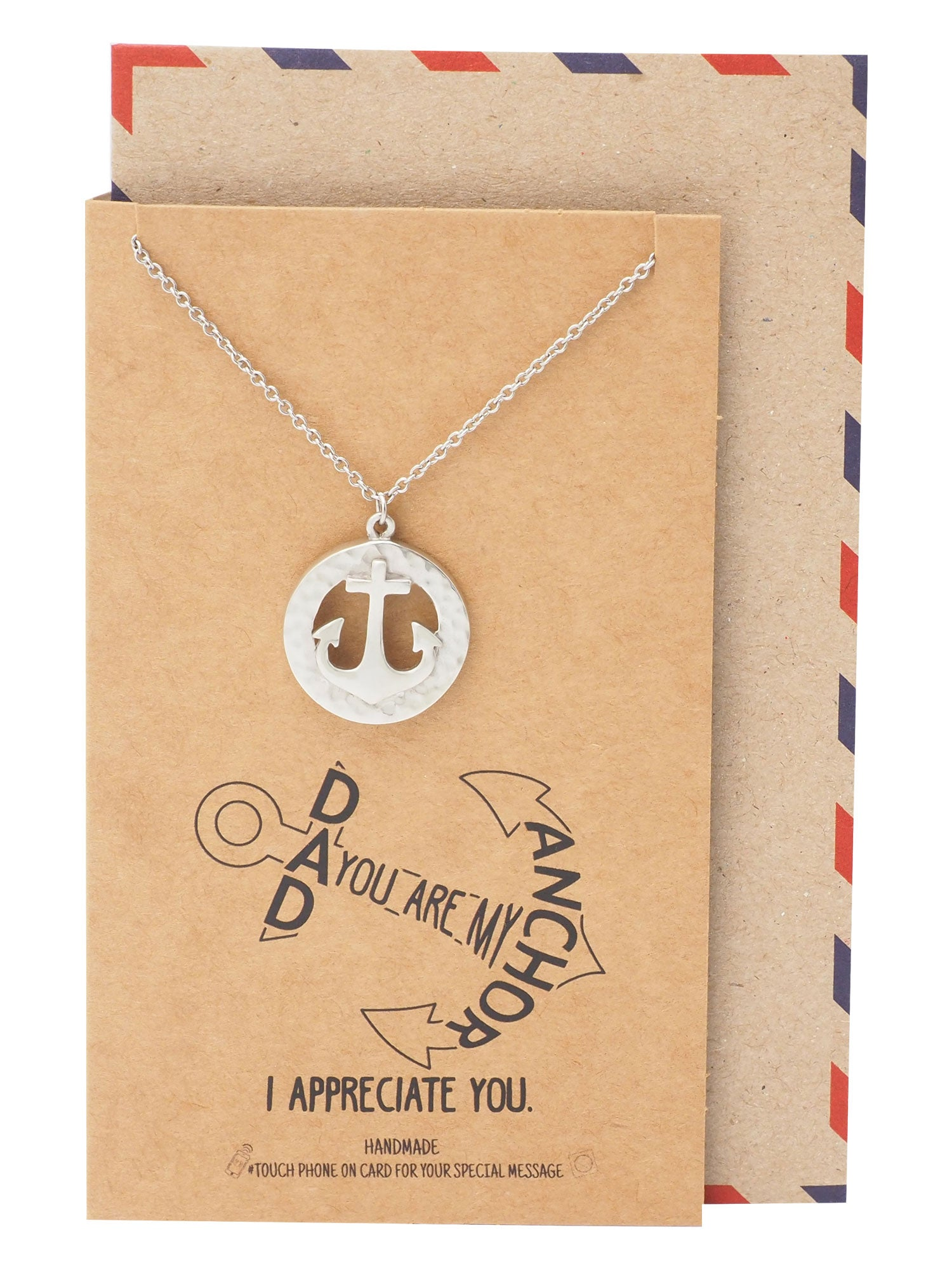 Inno Ring and Anchor Pendant Necklace, Gifts for Dad, Appreciation Necklace With Greeting Card