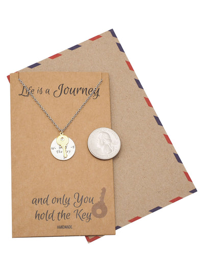 Joesan Compass Plate and Key Charms Necklace Life Is A Journey Inspirational Jewelry