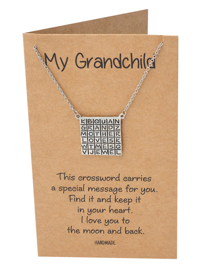 Alessia Grandmother Crossword Pendant Necklace, Gifts for Grand Child with Greeting Card