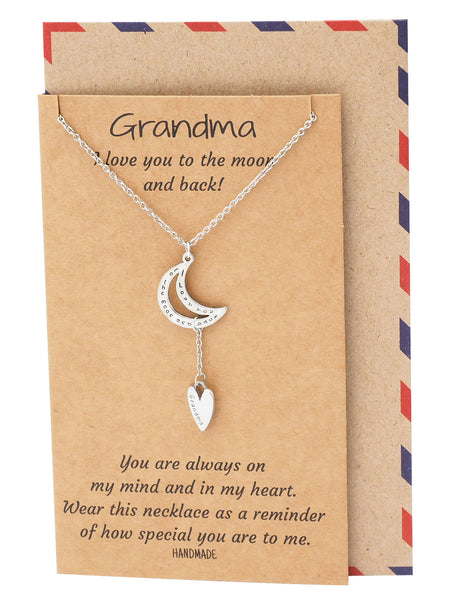 Alissa My Dearest Grandma Necklace, Gifts for Grandma, comes with Inspirational Quote