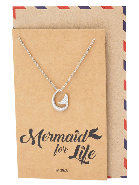 Clemence Mermaid Tail Pendant Necklace, Gifts for Mermaid Lovers with Greeting Card - Quan Jewelry