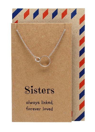 Hailey Sister Quotes Sister Necklaces with Interlocking Circles Pendant - Quan Jewelry