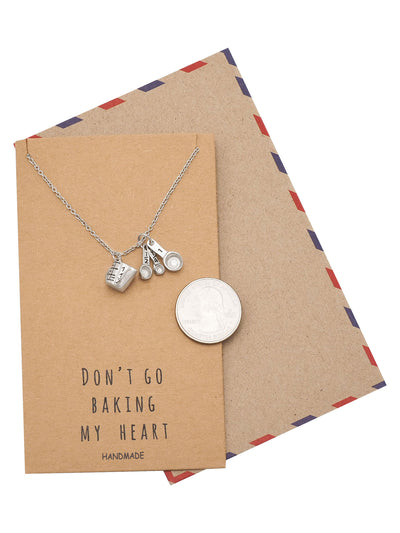 Carmel Gifts for Mom Bakers Kitchen Charm Necklace Funny Greeting Card - Quan Jewelry