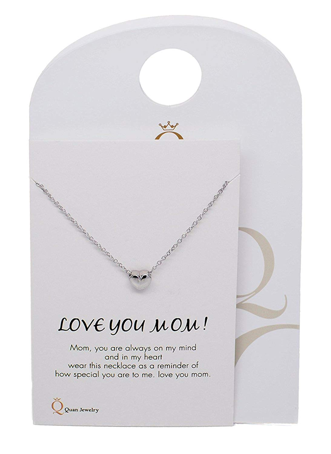 Jade Heart Pendant Necklace, Gift for Moms Birthday, Love you Mom Quote Card - Quan Jewelry