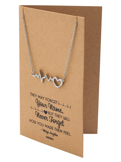 Polly Heartbeat ECG with Heart Necklace, Gifts for Women, Gifts for Nurses