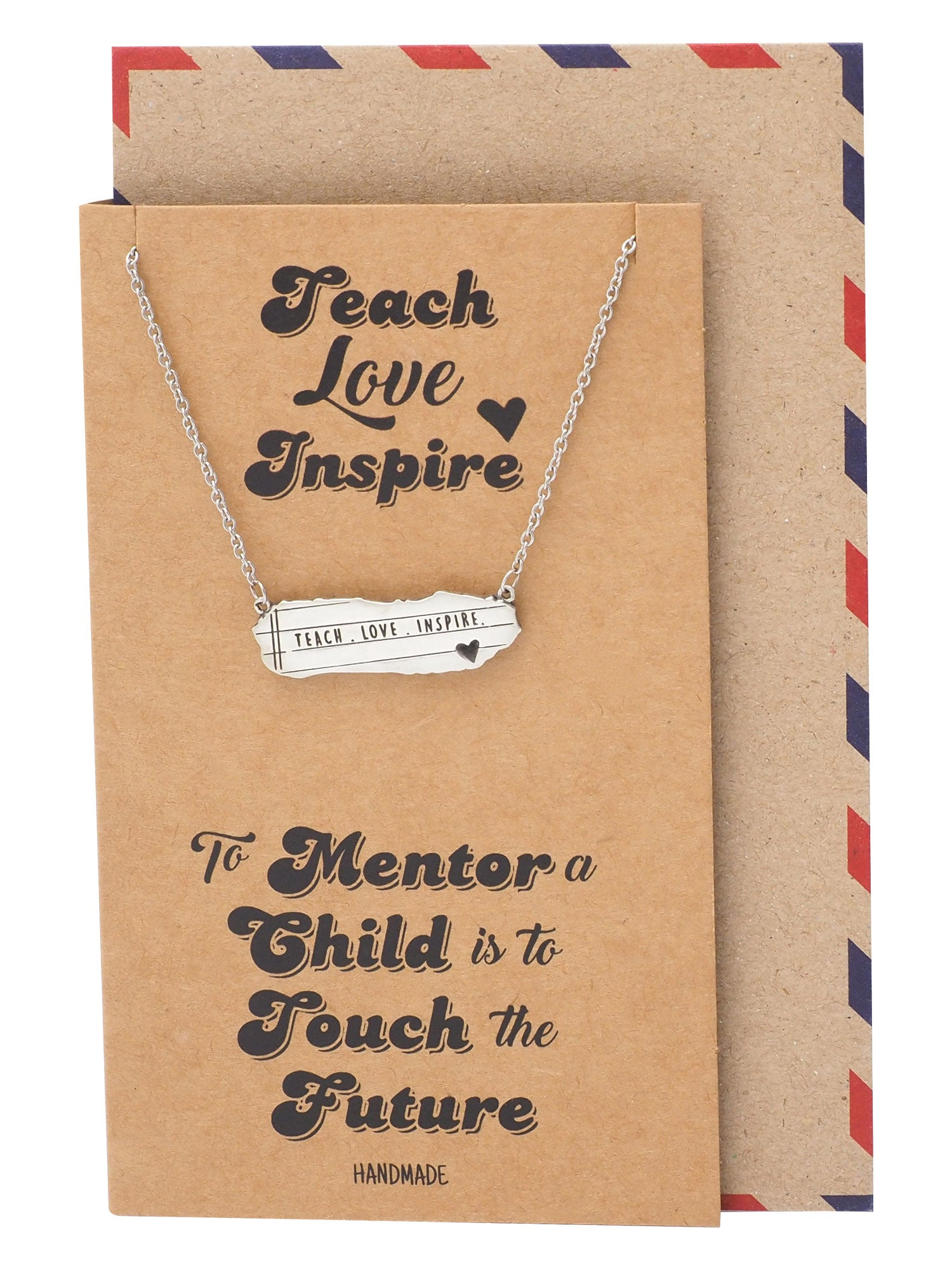 Lila Bar Pendant with Notebook Charm & Teach Love Inspire Inscription, Teacher Gifts, Greeting Card