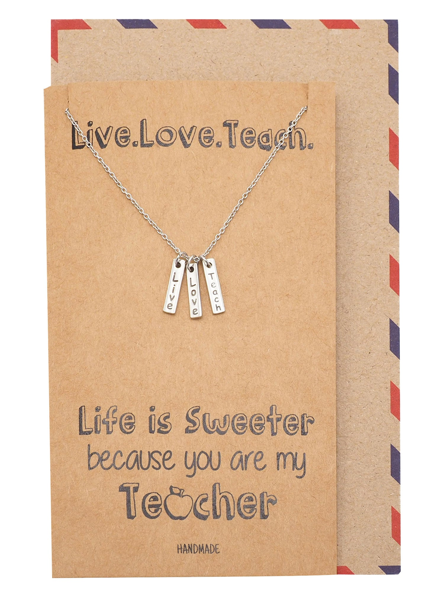 Michayla Live Love Teach Bar Pendant Necklace, Thank You Teacher Necklace