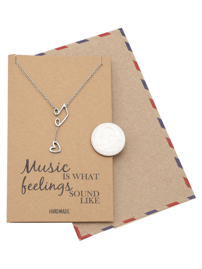 Nia Music Note Heart Necklace, Gifts for Music Lovers, Music Jewelry