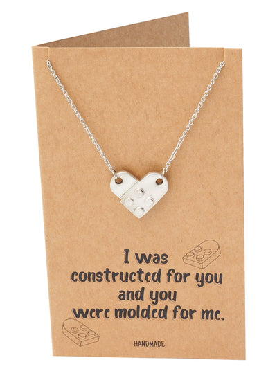 Immanuelle Lego Pendant Necklace Relationship Goals Gifts for Women with Greeting Card - Quan Jewelry