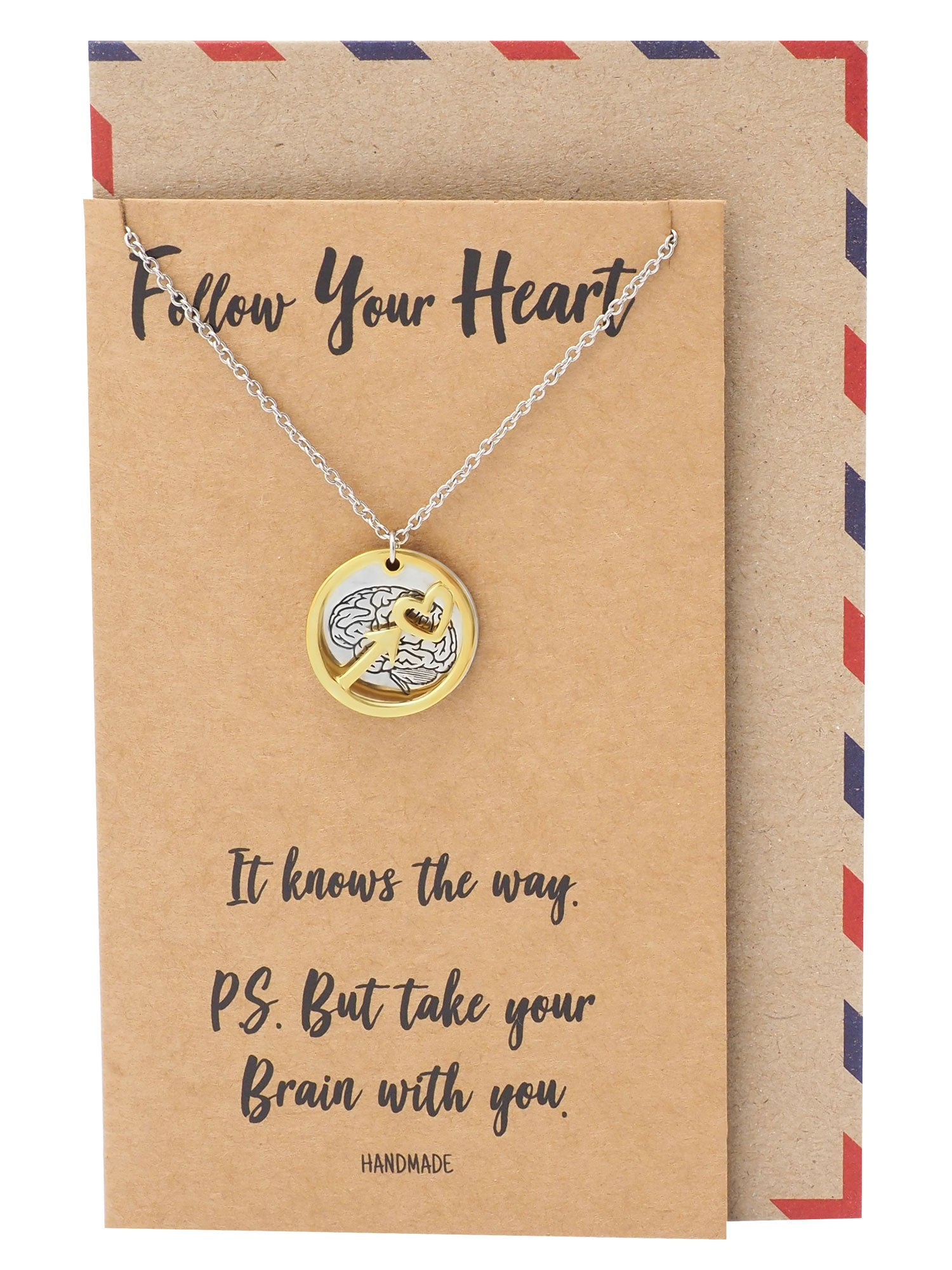 Coline Heart Arrow and Brain on Plate Pendant Necklace Inspirational Quote Greeting Card - Quan Jewelry