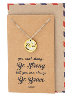 Carla Infinity Arrow with Brave on Plate Pendant Necklace, Friendship Gifts, with Greeting Card - Quan Jewelry