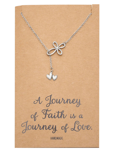 Earleen Infinity Cross and 2 Hearts Pendant Necklace, Religious Jewelry - Quan Jewelry