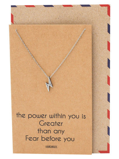 Bambi Power Lightning Pendant Necklace, Necklace for Women, Silver Tone - Quan Jewelry